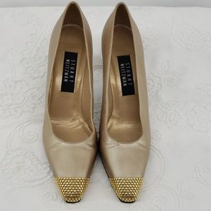 Stuart Weitzman Gold Studded Toe & Heels